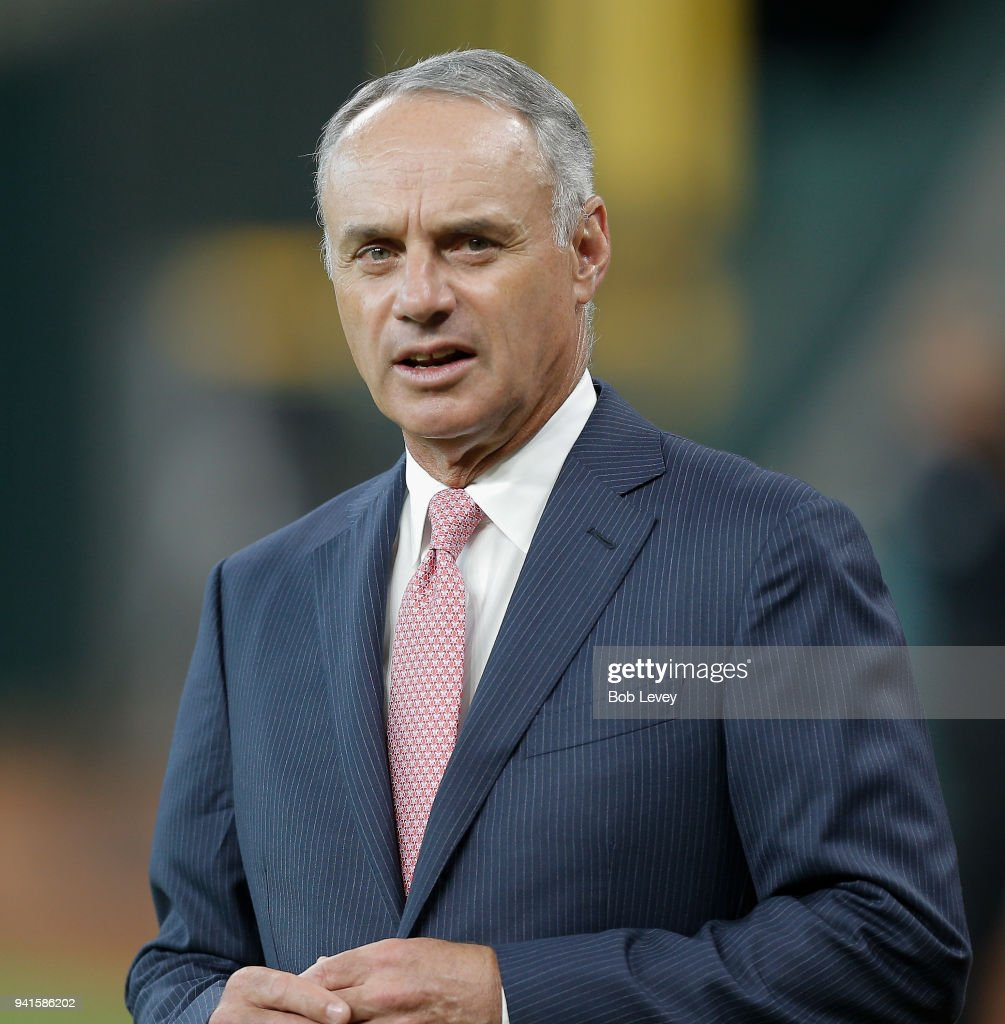 Major League Baseball Commissioner Rob Manfred arrives during batting practice at Minute Maid Park on April 3, 2018 in Houston, Texas.