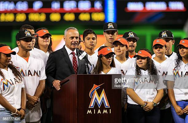 Major League Baseball commissioner Rob Manfred speaks prior to the unveiling of the 2017 AllStar Game logo before the game between the Miami Marlins...