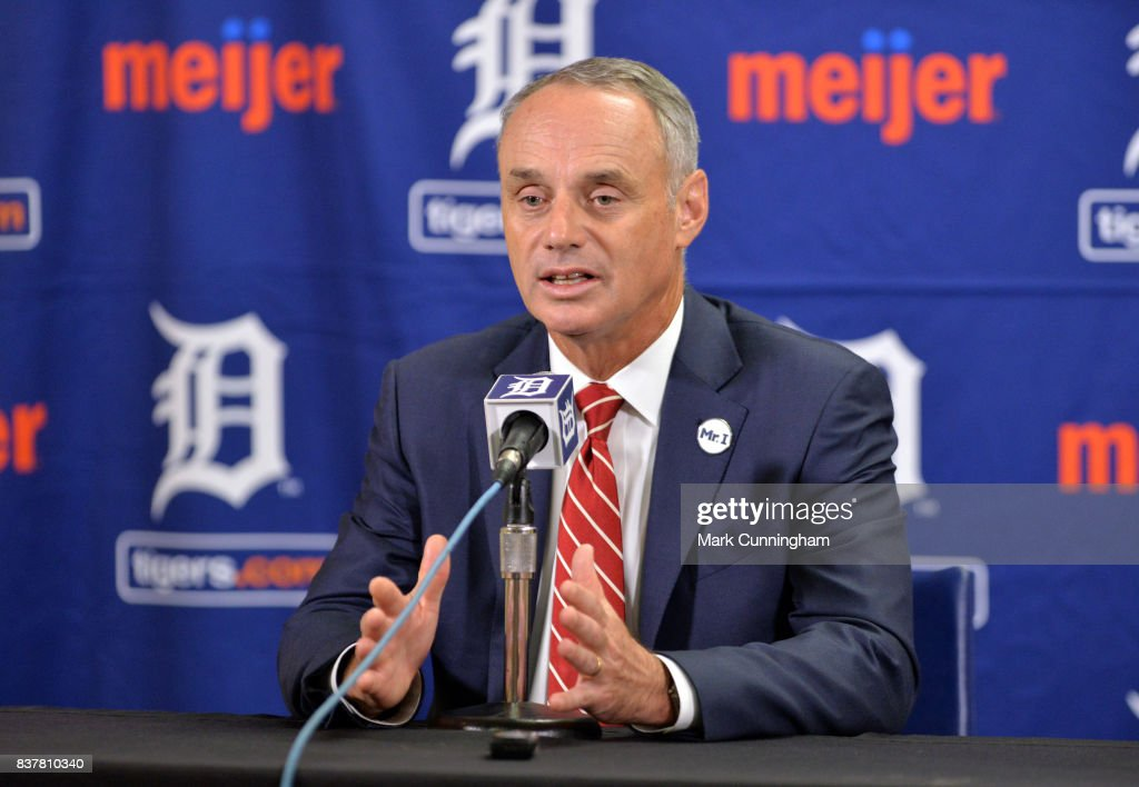 Major League Baseball Commissioner Rob Manfred speaks to the media during his visit to Comerica Park prior to the game between the New York Yankees and the Detroit Tigers at Comerica Park on August 22, 2017 in Detroit, Michigan. The Yankees defeated the Tigers 13-4.