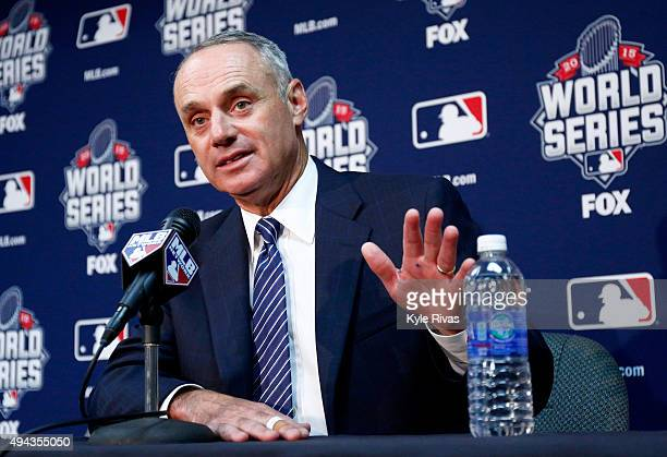 Major League Baseball Commissioner Robert D Manfred Jr addresses the media the day before Game 1 of the 2015 World Series between the Kansas City...