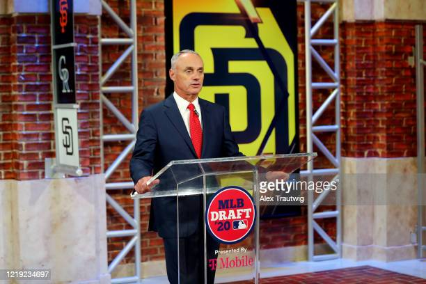 Major League Baseball Commissioner Robert D Manfred Jr announces the eight pick of the 2020 MLB Draft is Robert Hassell III by the San Diego Padres...