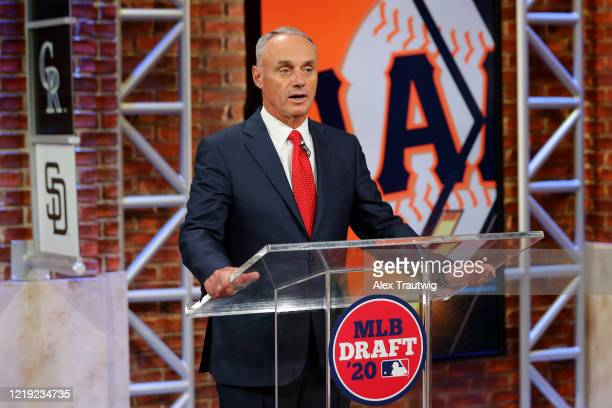Major League Baseball Commissioner Robert D Manfred Jr announces the 13th pick of the 2020 MLB Draft is Patrick Bailey by the San Francisco Giants...