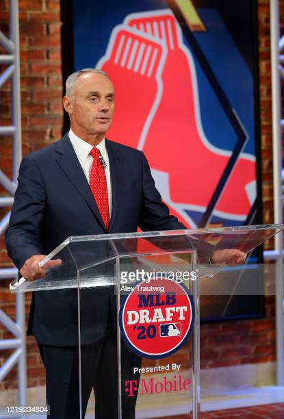 Major League Baseball Commissioner Robert D Manfred Jr announces the 17th pick of the 2020 MLB Draft is Nick Yorke by the Boston Red Sox during the...