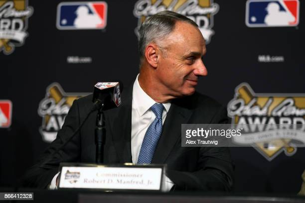 Major League Baseball Commissioner Robert D Manfred Jr looks on during the Hank Aaron Award press conference prior to Game 2 of the 2017 World Series...