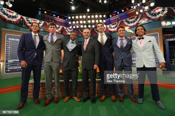 Major League Baseball Commissioner Robert D Manfred Jr poses for a photo with potential 2018 Major League Draft picks prior to the 2018 Major League...