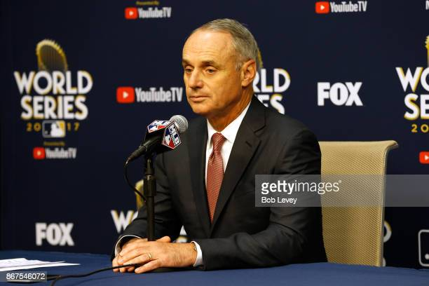 Major League Baseball Commissioner Robert D Manfred Jr speaks to the media during a press conference prior to game four of the 2017 World Series...