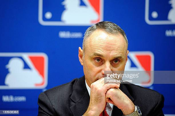 Major League Baseball Executive Vice President Rob Manfred speaks at a news conference at MLB headquarters on November 22 2011 in New York City...