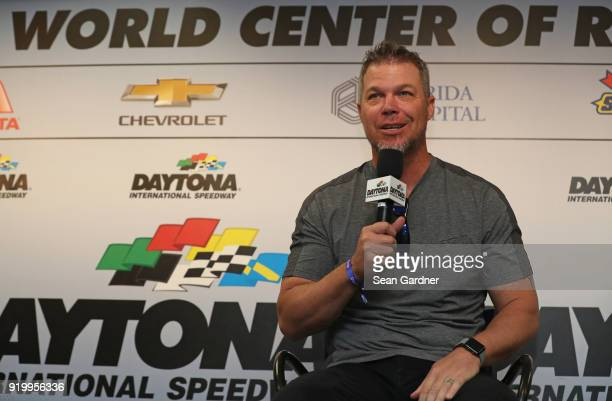 Major League Baseball Hall of Famer Chipper Jones speaks with the media during a press conference prior to the start of the Monster Energy NASCAR Cup...