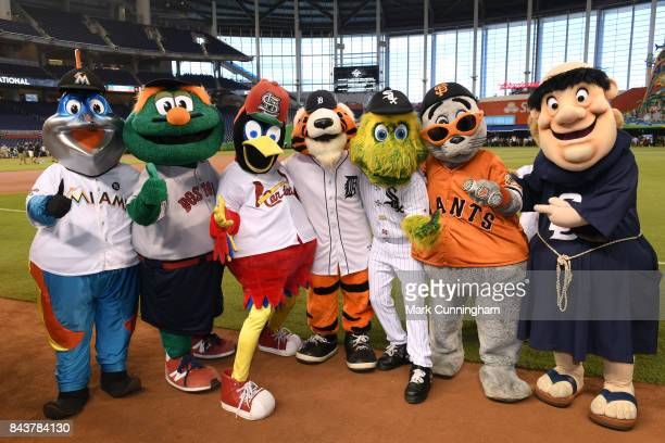 Major League Baseball mascots Billy the Marlin Wally The Green Monster Fredbird Paws Southpaw Lou Seal and Swinging Friar pose for a photo during the...