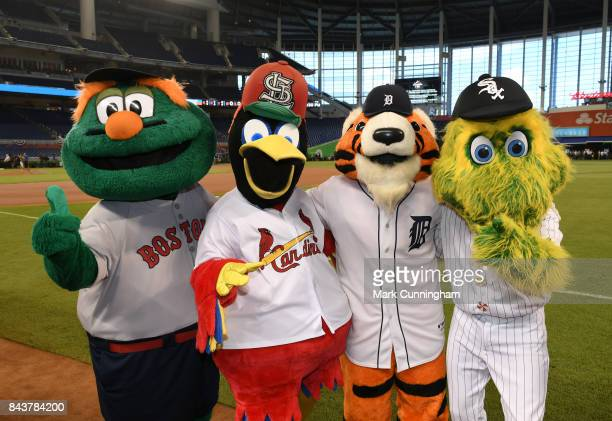 Major League Baseball mascots Wally The Green Monster Fredbird Paws and Southpaw pose for a photo during the 2017 Gatorade AllStar Workout Day at...