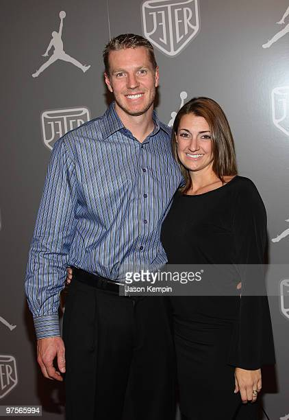 Major League Baseball Pitcher Roy Halladay and wife Brandy celebrate during Team Jordan athlete Derek Jeter at an exclusive party held at Marquee on...