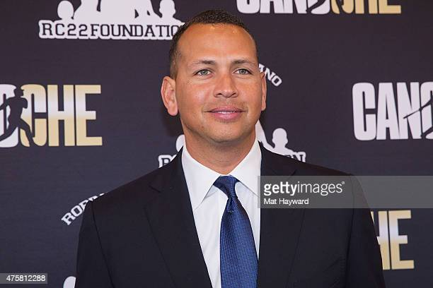 Major League Baseball player Alex Rodriguez of the New York Yankees attends the Canoche Benefit for the RC22 Foundation hosted by Robinson Cano at...