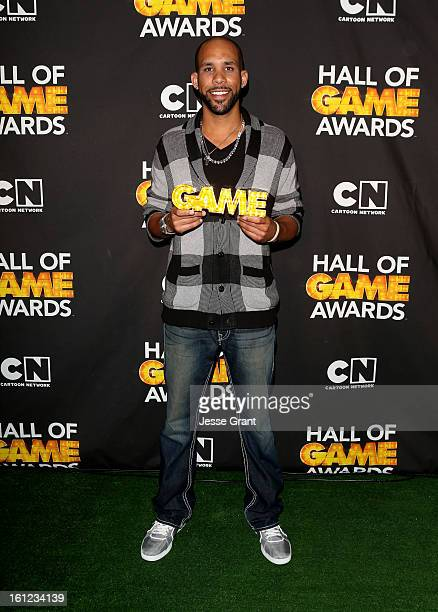 Major League Baseball Player David Price attends the Third Annual Hall of Game Awards hosted by Cartoon Network at Barker Hangar on February 9 2013...