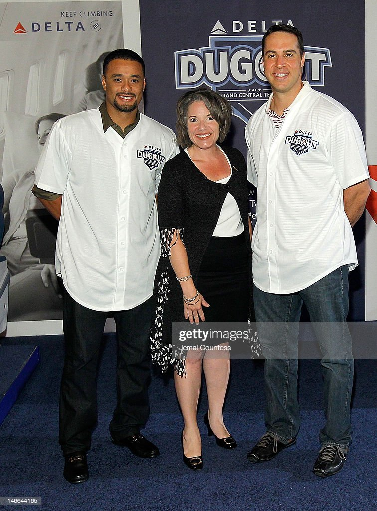 Major league Baseball player Johan Santana, Senior Vice President of Delta Airlines Gail Grimmett and major league baseball player Mark Teixeira attend the opening of the Delta Dugout at Vanderbilt Hall at Grand Central Terminal on June 21, 2012 in New York City.
