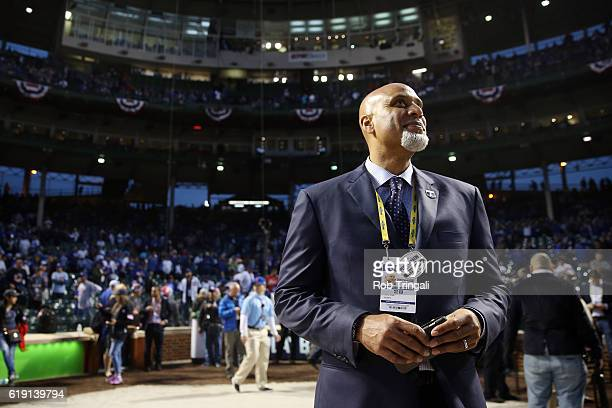 Major League Baseball Players Association Executive Director Tony Clark looks on prior to Game 4 of the 2016 World Series between the Cleveland...
