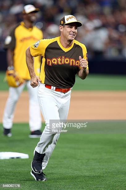 Major League Baseball Vice President of Inclusion and Social Responsibility Billy Bean rounds the bases after hitting a home run during MLB AllStar...