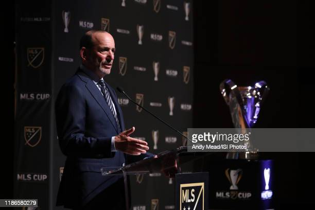 Major League Soccer Commissioner Don Garber takes questions from the audience at Grand Hyatt Seattle on November 08, 2019 in Seattle, Washington.