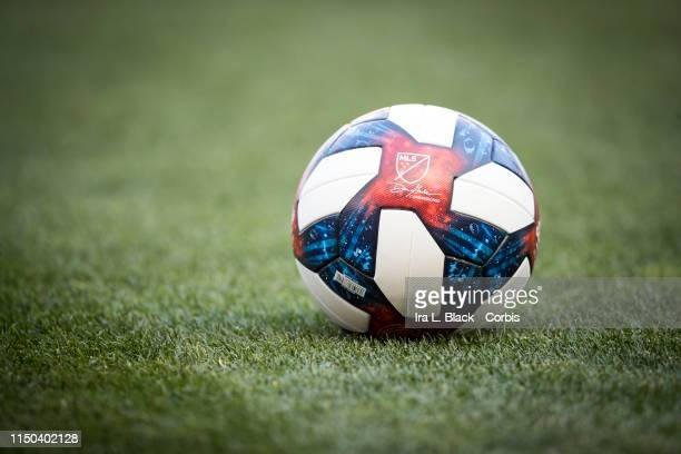 Major League Soccer game ball with the signature of Don Garber Commissioner before the MLS match between Atlanta United FC and New York Red Bulls at...