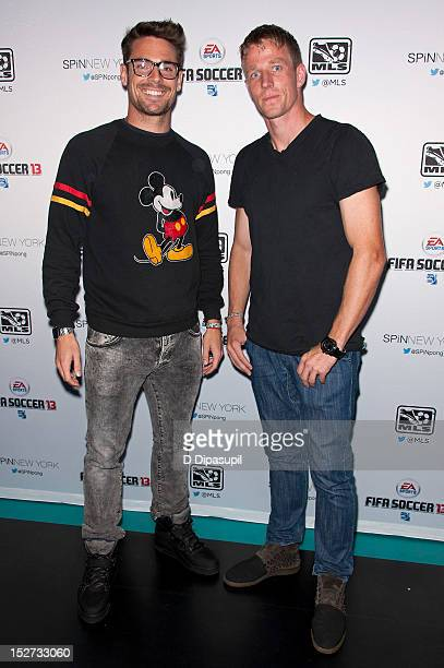 Major League Soccer players Heath Pearce and Jan Gunnar Solli attend the FIFA Soccer 2013 launch at SPiN New York on September 24, 2012 in New York...