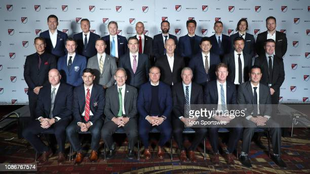 Major League Soccer's head coaches posed for a group photo before the draft Front row Brad Friedel Veljko Paunovic Brian Schmetzer Giovanni Savarese...