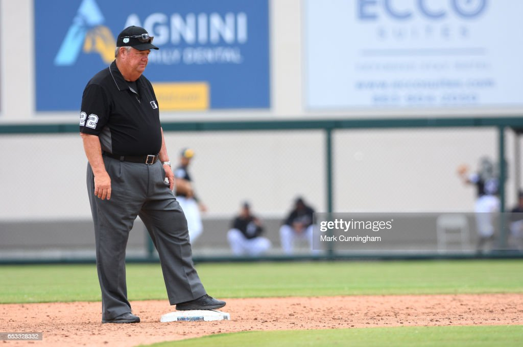 Major League umpire Joe West looks on during the Spring Training game between the Detroit Tigers and the New York Mets at Publix Field at Joker Marchant Stadium on March 12, 2017 in Lakeland, Florida. The Tigers defeated the Mets 4-3.