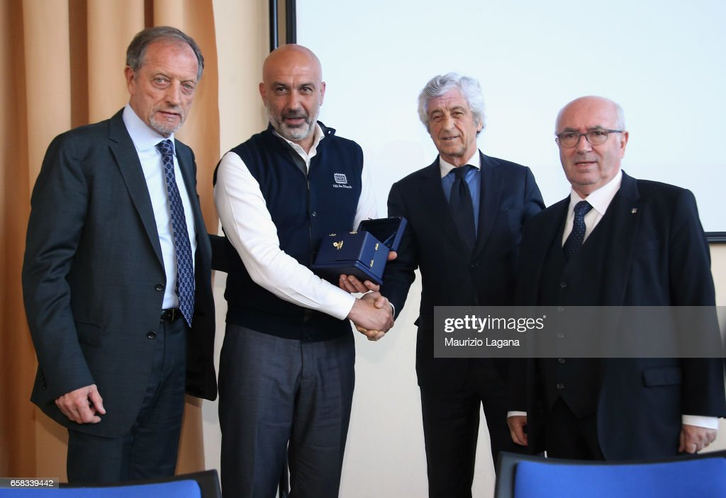 Major of Amatrice Sergio Pirozzi receives the Panchina D'Oro Prize during Italian Football Federation 'Panchine D'Oro E D'Argento' Prize at Coverciano on March 27, 2017 in Florence, Italy.