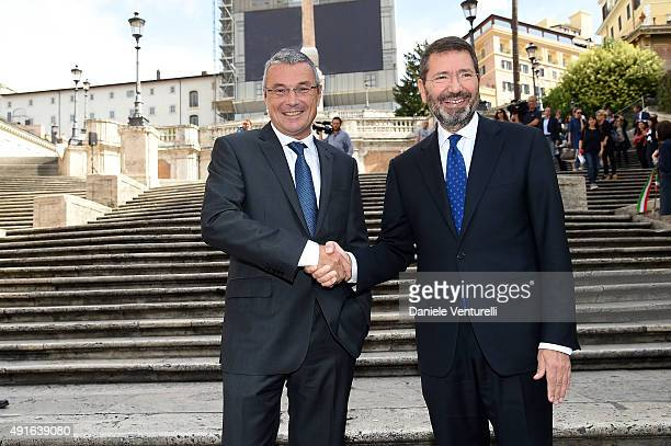 Major of Rome Ignazio Marino and Jean Christophe Babin chief executive officer of Bulgari SpA attend the Press Conference for 'The Spanish Steps...