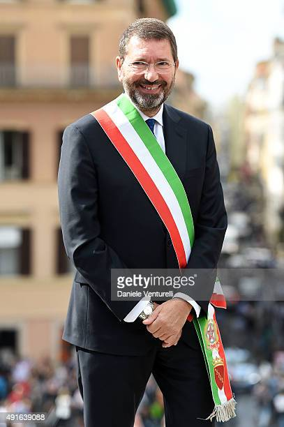 Major of Rome Ignazio Marino attends the Press Conference for 'The Spanish Steps Restoration' at Piazza Di Spagna on October 7 2015 in Rome Italy