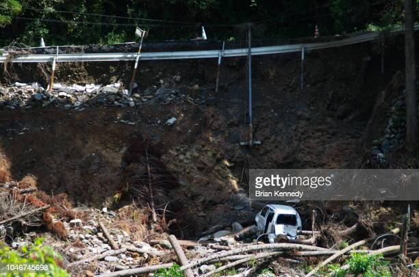 major rain damage washed out road - landslide stock pictures, royalty-free photos & images