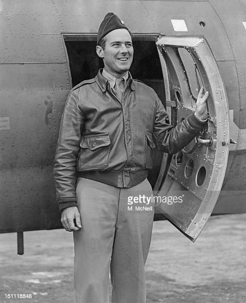 Major Robert O Good of the US Eighth Air Force standing by a B17 Flying Fortress bomber at an airfield in England 18th October 1943