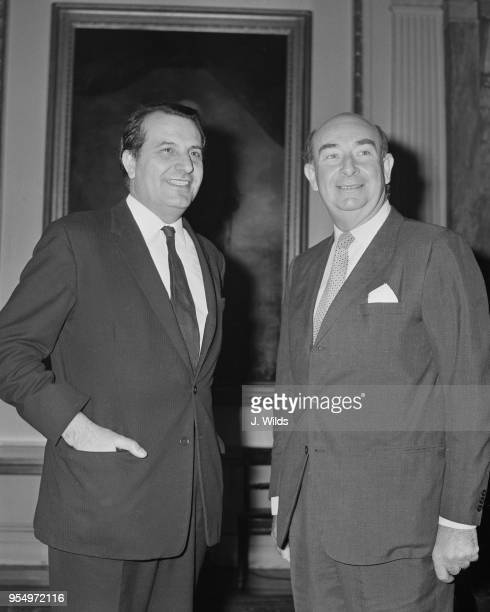 Major Robert Peliza the Chief Minister of Gibraltar with Malcolm Shepherd Minister of State at the Foreign and Commonwealth Office at the Foreign...