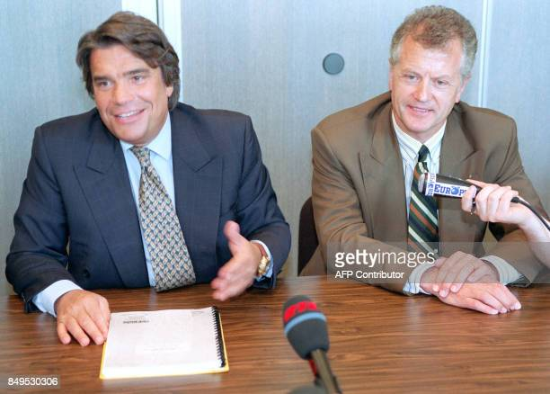 Major shareholder of the Adidas group Bernard Tapie gives a press conference in the company of Adidas French President Gehrard Prochaska 16 June 1992...