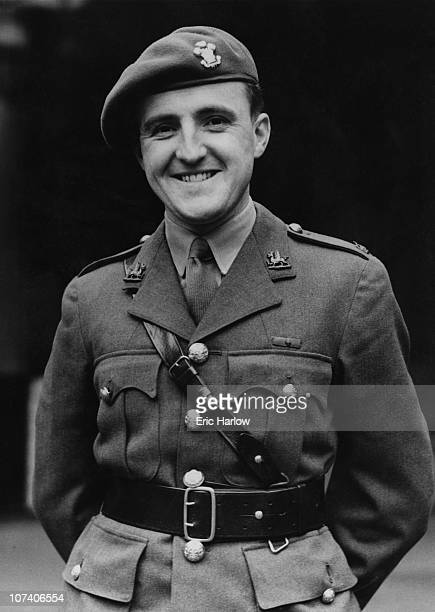 Major Tasker Watkins of the Welsh Regiment of the British Army receives the Victoria Cross at Buckingham Palace 8th March 1945 His VC was awarded for...