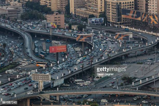 A major traffic interchange in central Cairo Abd ElMoneim Riad Square on September 24 2017 in Cairo Egypt Overview photos of Cairo's buildings...