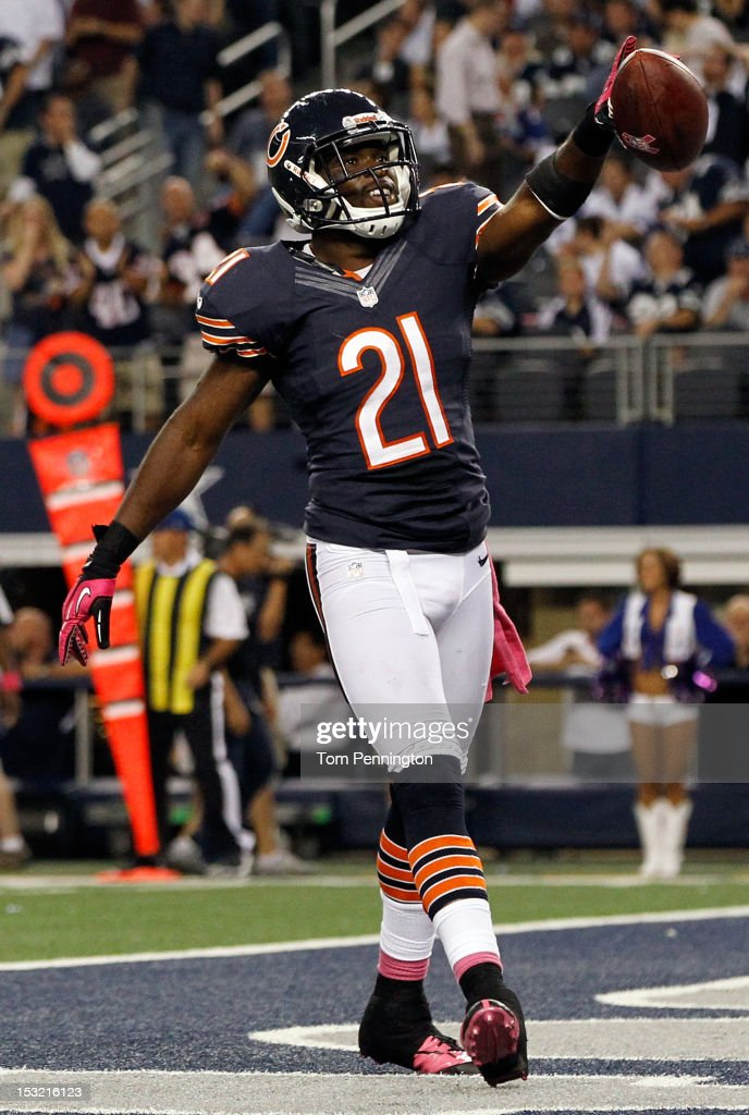 Major Wright #21 of the Chicago Bears celebrates after intercepting the ball against the Dallas Cowboys at Cowboys Stadium on October 1, 2012 in Arlington, Texas.