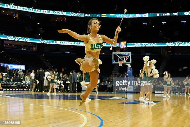 A majorette from the South Florida Bulls performs during the game against the Seton Hall Pirates at the Tampa Bay Times Forum on January 13 2012 in...