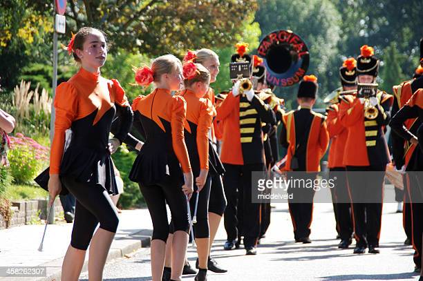 majorettes in the music parade  - drum majorette stock pictures, royalty-free photos & images