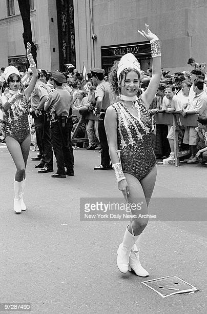 Majorettes march during the Puerto Rican Day Parade
