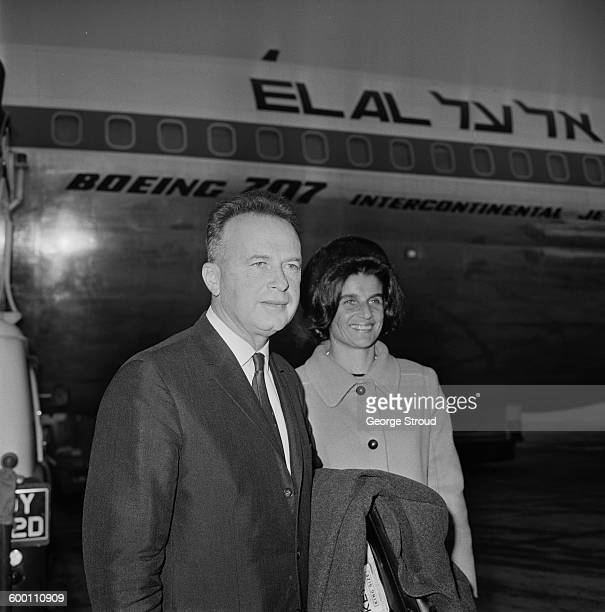 Major-General Yitzhak Rabin , chief of staff of the Israeli Defence Forces , at London Airport with his wife Leah , UK, 24th November 1967.