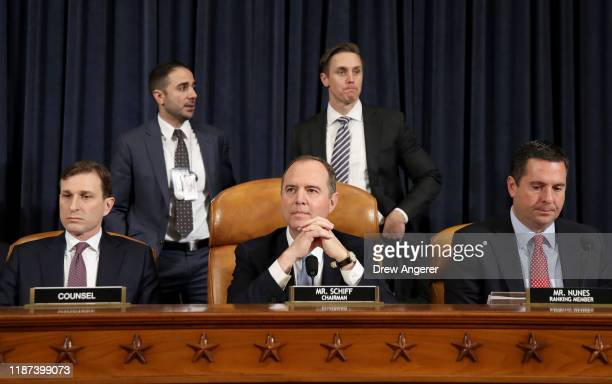 Majority counsel for the House Intelligence Committee Daniel Goldman and House Intelligence Committee Chairman Rep Adam Schiff and ranking member of...