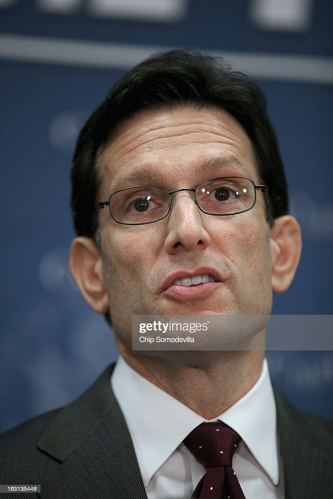 Majority Leader Eric Cantor (R-VA) (L) speaks during a news conference following the weekly House Republican caucus meeting at the U.S. Capitol March 5, 2013 in Washington, DC. With the budget sequester now in effect, Speaker of the House John Boehner (R-OH) and his party in the House are now focusing on fighting against new taxes and rolling back the federal budget.
