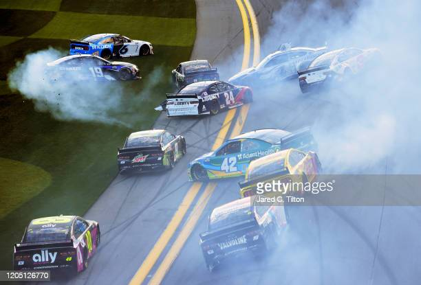 A majority of the drivers in the field are involved in an ontrack incident during the NASCAR Cup Series Busch Clash at Daytona International Speedway...
