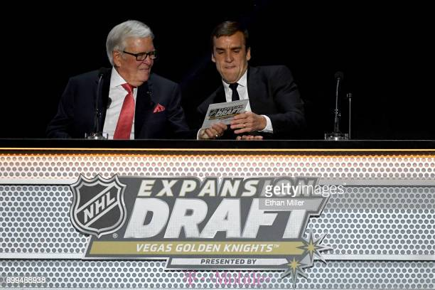Majority owner Bill Foley and general manager George McPhee of the Vegas Golden Knights annouce their picks during the 2017 NHL Awards and Expansion...
