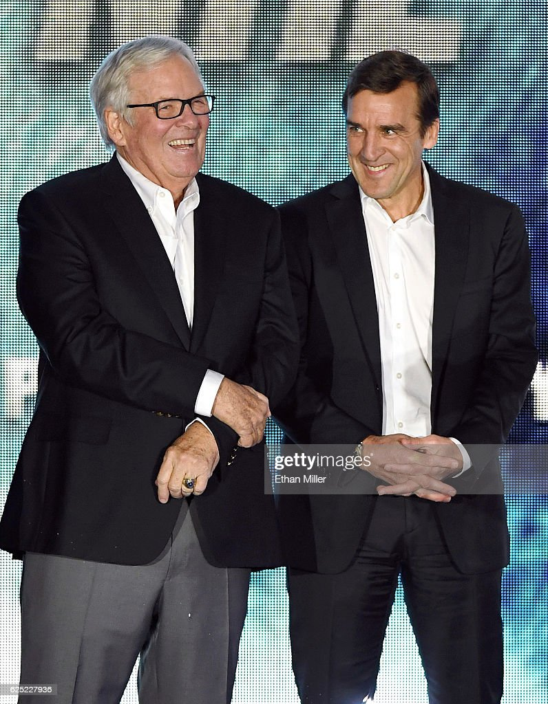 Majority owner Bill Foley (L) and general manager George McPhee talk before the Vegas Golden Knights was announced as the name for Foley's Las Vegas NHL franchise at T-Mobile Arena on November 22, 2016 in Las Vegas, Nevada. The team will begin play in the 2017-18 season.