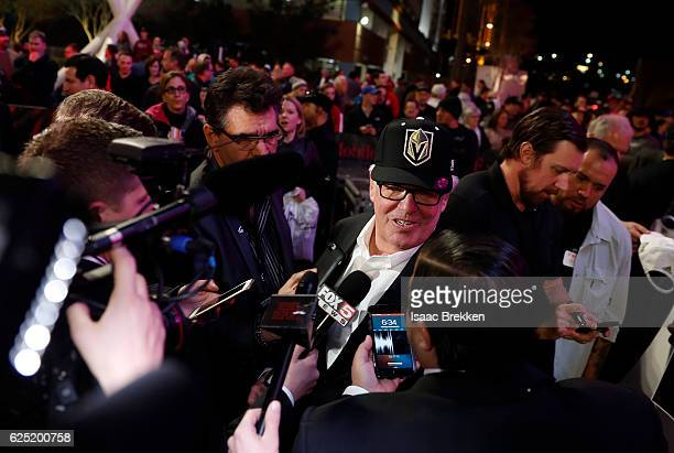 Majority owner Bill Foley speaks with members of the media after unveiling the new logo and name for the Vegas Golden Knights in Toshiba Plaza at...