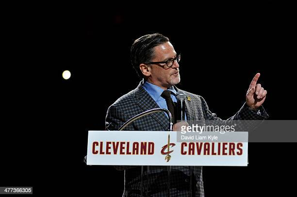 Majority Owner Dan Gilbert of the Cleveland Cavaliers gives a speech about Zydrunas Ilgauskas during halftime of the game against the New York Knicks...