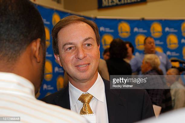 Majority owner Joe Lacob speaks to the media at a press conference to introduce Welts as the new President and Chief Operating Officer of the Golden...