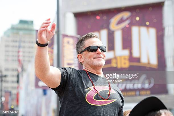 Majority owner of the Cleveland Cavaliers Dan Gilbert waves to the fans during the Cleveland Cavaliers 2016 championship victory parade and rally on...