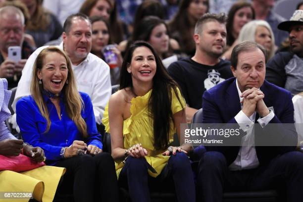 Majority owner of the Golden State Warriors Joseph S Lacob and fiancée Nicole Curran attend Game Four of the 2017 NBA Western Conference Finals...