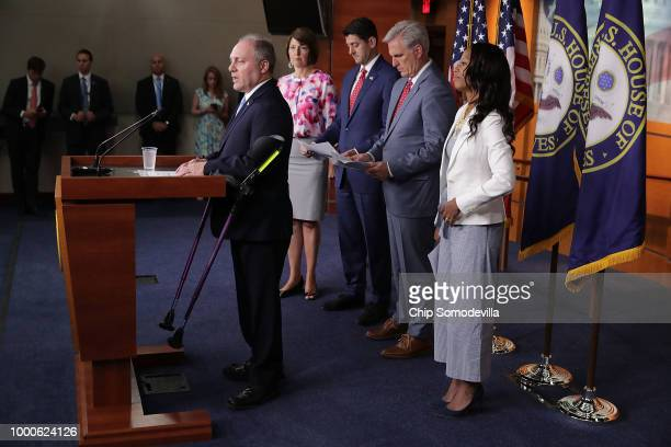 Majority Whip Steve Scalise answers reporters' questions during a news conference with Rep Cathy McMorris Rodgers Speaker of the House Paul Ryan...